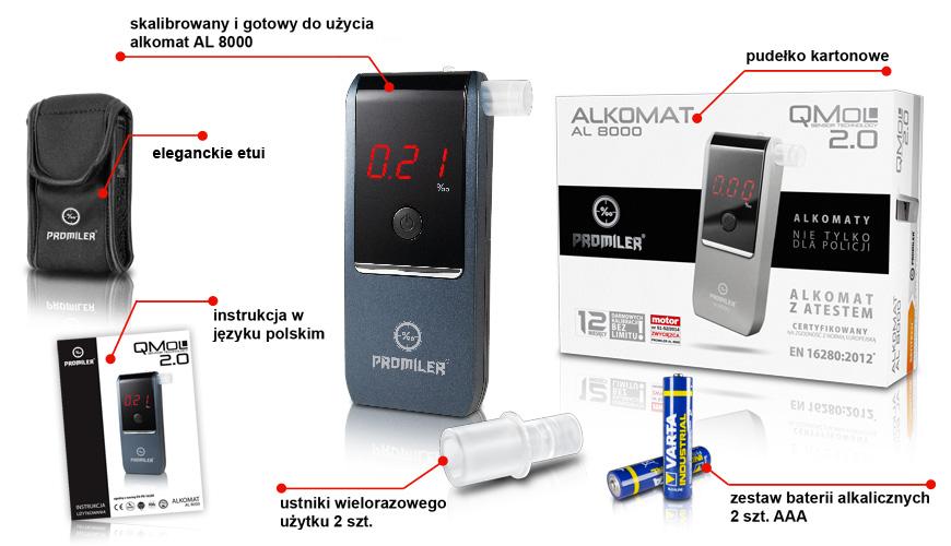 Alkomat AL-8000 skład zestawu